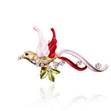 2017 Rushed Real Pin Broche X055 Simple Korean Clothing Bird Beak Leaves Color Brooch Dress Collocation Manufacturers Supply