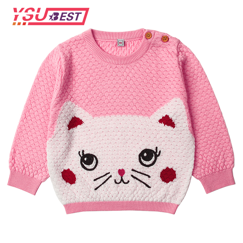 2018 Kid Pullovers Newborn Baby Boys Sweater Adorable Cat Knit Toddler Girls Jumper Spring Thin Infant Knitwear Children Clothes