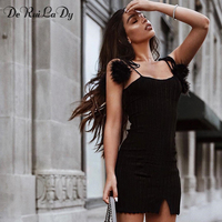 DeRuiLaDy 2018 New Sexy Women Bodycon Dress Female Sleeveless Ball Sling Mini Split Black Casual Party