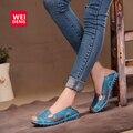 4 Cores Mulheres Casuais Genuína sapatos de Barco de couro Macio E Confortável Impressão Ventilação Moda Gommino Plana Deslizamento Plana sobre Sapatos 35-40