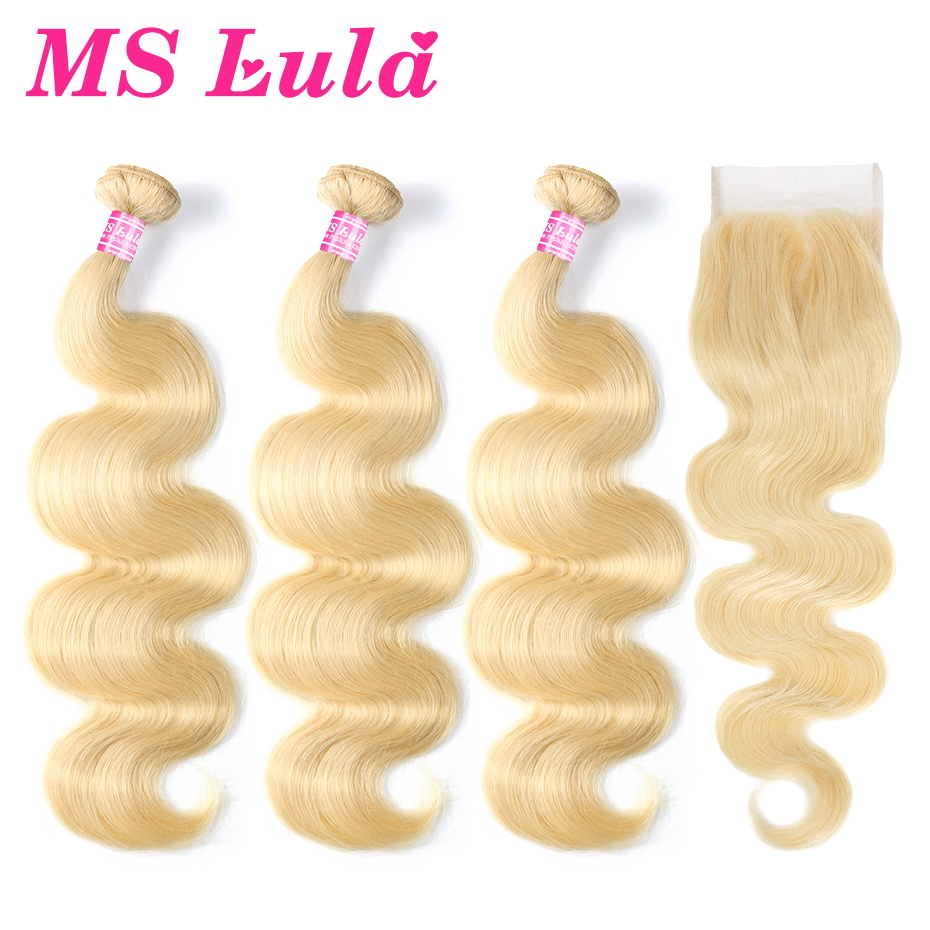 MS Lula Hair Blonde Brazilian 613 Body Wave Weave 3 Bundles Wefts With 4X4 Closure 100