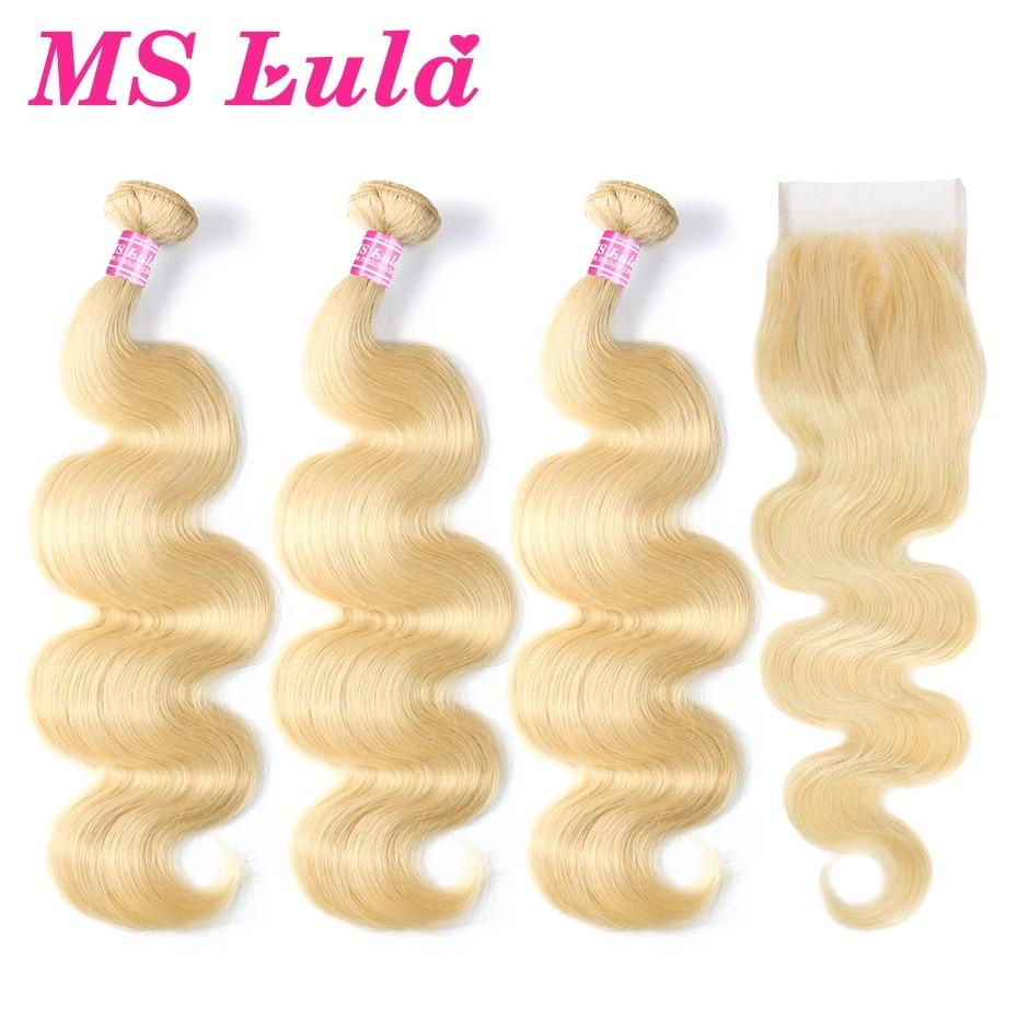 MS Lula Cheveux Blonde Brésilienne 613 de Vague de Corps D'armure 3 Bundles Trames Avec 4X4 Fermeture 100% Remy Humains extensions de cheveux Livraison Gratuite