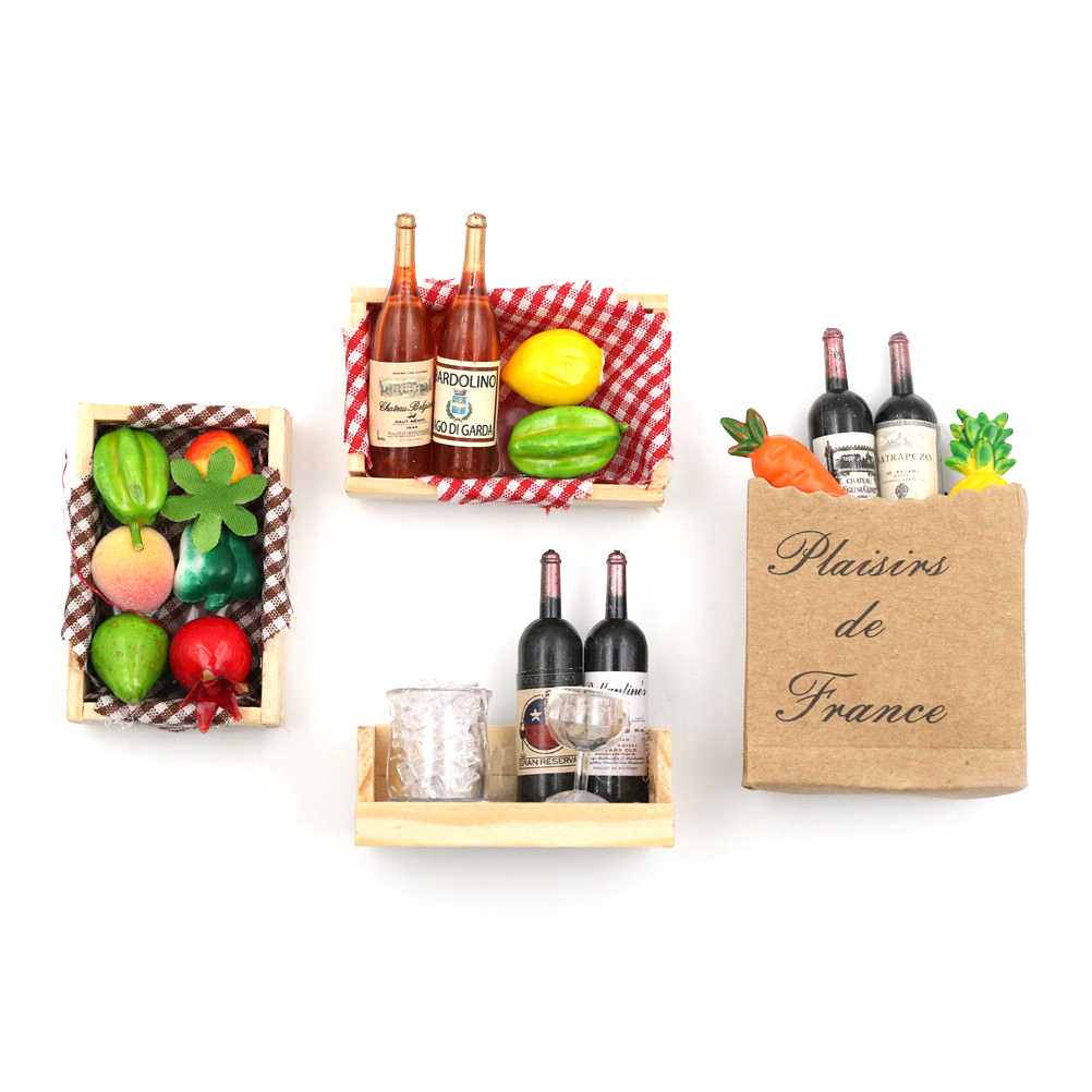 Gift Miniature Accessories 1:12 Doll House Mini Wine Bottles Fruit Box  Candy Food Toy Match Collectible