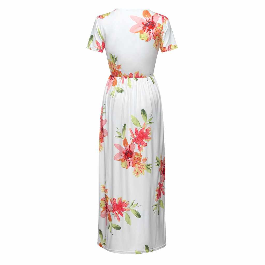 806a379ab8703 MUQGEW Maternity Dress Photography Short Sleeve Clothes for Pregnant Women  V-neck Floral Print Dress Pregnancy Clothes for Women