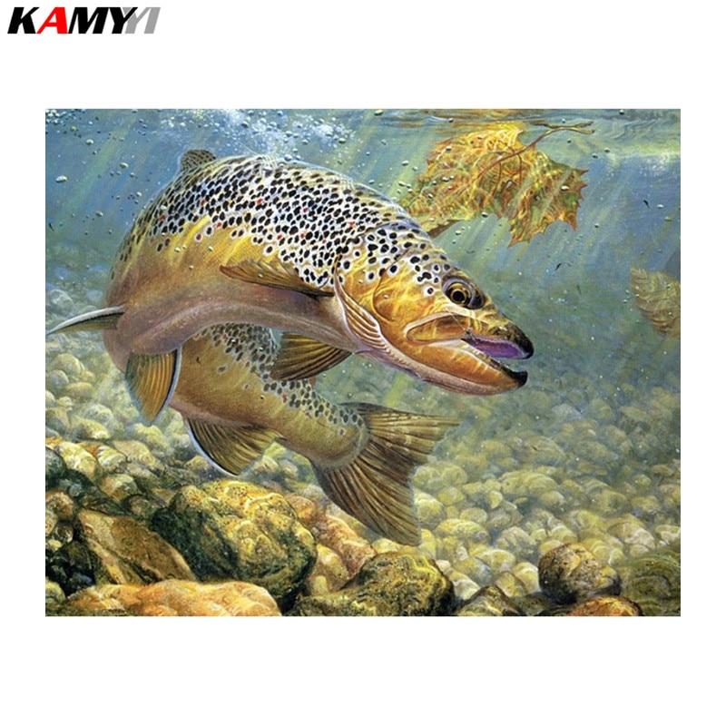 5D full drill diamond painting cross stitch animals diy diamond embroidery kit mosaic craft rhinestones picture big fish