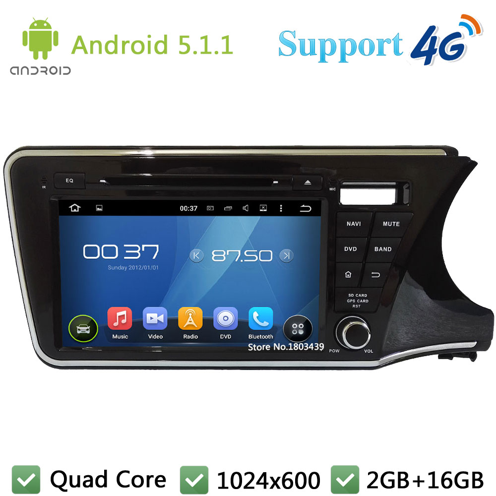 Quad Core 9″ 1024*600 2Din Android 5.1.1 Car DVD Player Radio PC 3G/4G WIFI GPS Map For Honda City Right Hand Driving 2014 2015