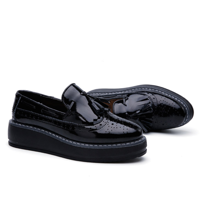 Image 5 - O16U High Quality Women oxfords Flats Platform shoes Patent Leather Tassel Slip on pointed Creeper black Brogue Loafers Brand-in Women's Flats from Shoes