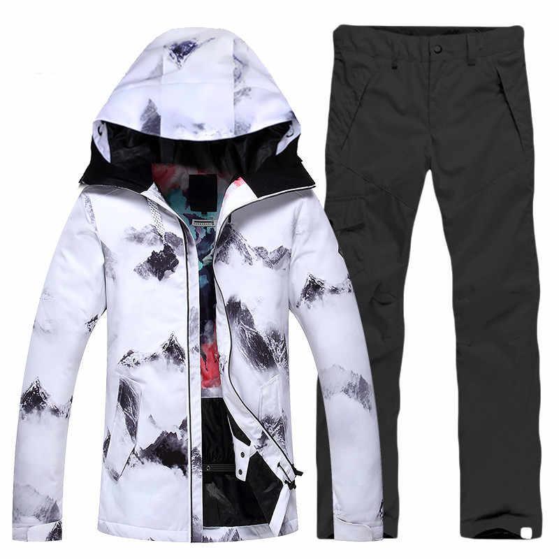 Женские лыжные костюмы, куртки + штаны, теплые зимние водонепроницаемые лыжные костюмы для сноубординга, лыжная куртка и штаны, бесплатная доставка