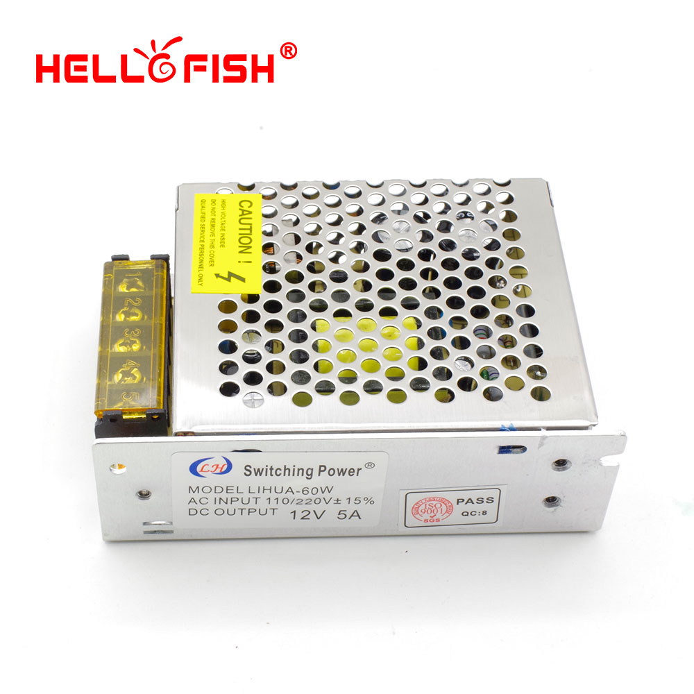 Hello Fish 12V 5A 60W 12V Led Strip Transformer Switching Power Supply