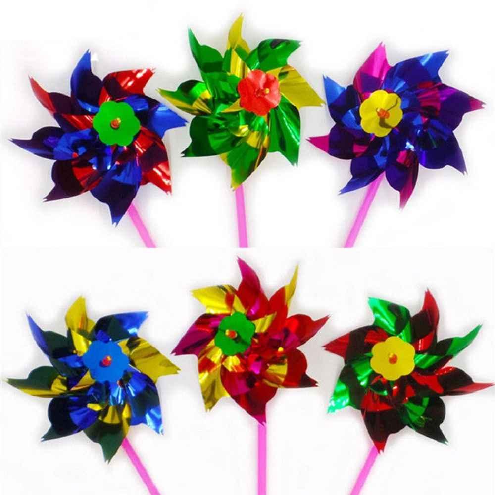 Оптовая продажа 10 шт упаковка маленькая красочные Пластик вертушка ветра счетчик мельница для сада вечерние украшения открытый игрушка