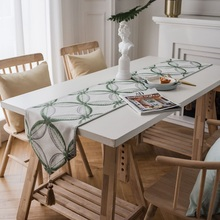 Europe Dinning Table Runner Green/Yellow Leaves Embroidered table runners for wedding birthday decorative home bed runners