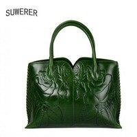 SUWERER Superior Cowhide Genuine Leather Women Handbags Embossed Flower Luxury Handbags Women Bags Designer Leather Women