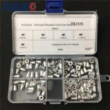 цена на 50Pcs/Box M3 M4 M5 M6 M8 Aluminum Alloy Rivnut Flat Head Threaded Rivet Insert Nutsert Cap Rivet Nut Assortment Kit HK009
