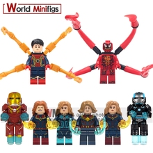 Legoings Figures Single Sale Super Heroes Avengers 4 Endgame Captain Marvel Iron Man Mk-1 Antman Wasp Building Blocks Kids Gifts