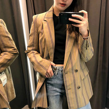 Womens jacket fashion striped retro double-breasted long suit ladies 2019 new womens clothing
