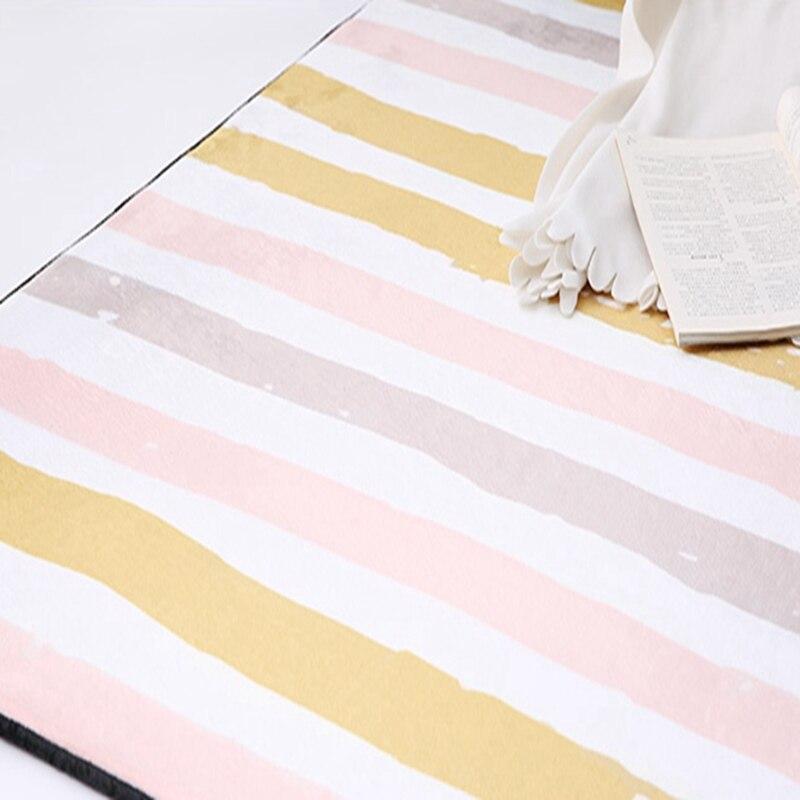 Simple moderne géométrique maison tapis Style nordique salon tapis chambre lit plein doux Polyester tapis rectangulaire doux Floormat - 5