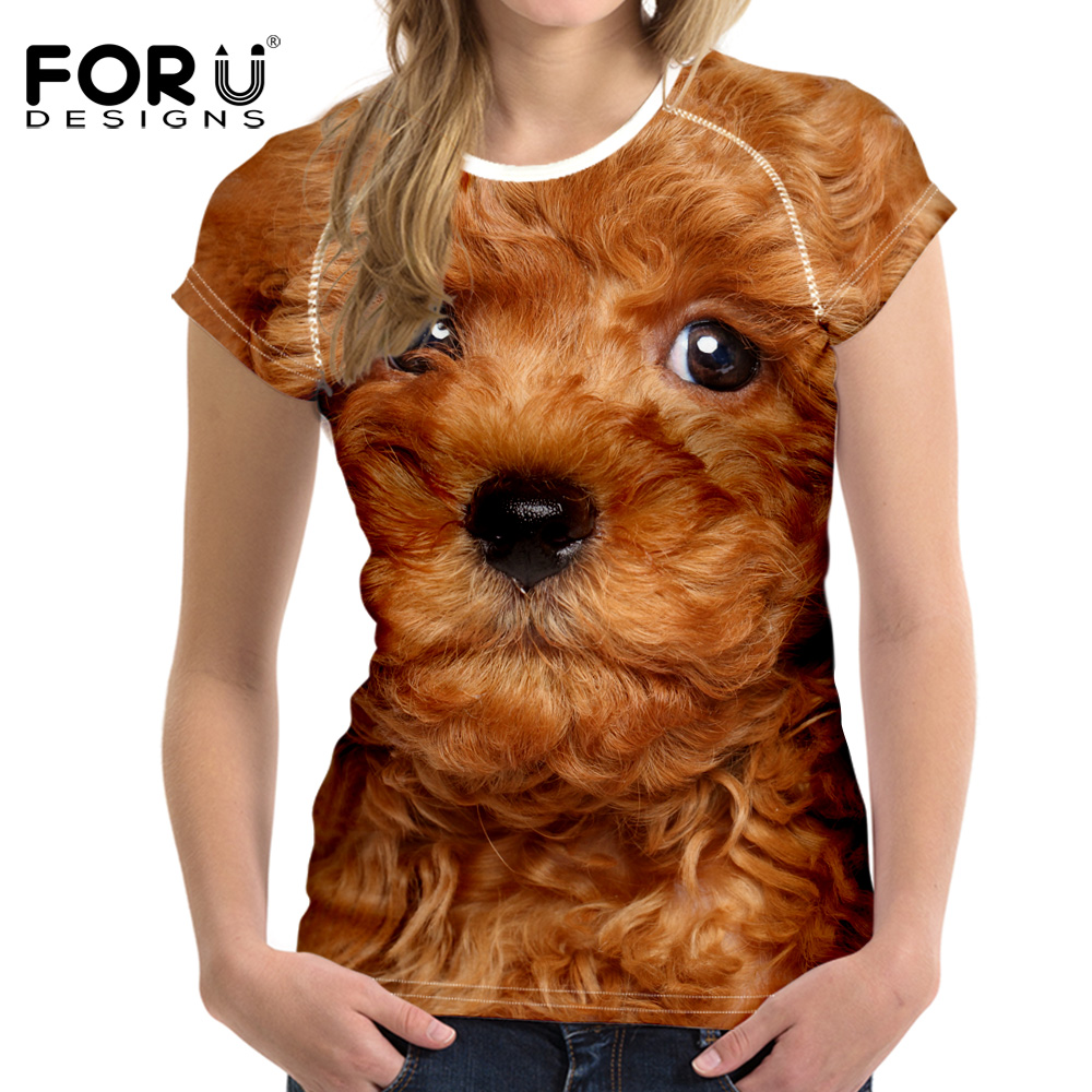 FORUDESIGNS Black 3D Poodle Dog T Shirt Women Top t-shirt Brand Clothing Kawaii Woman Fitness Clothes Tee Shirt Femme Camisas