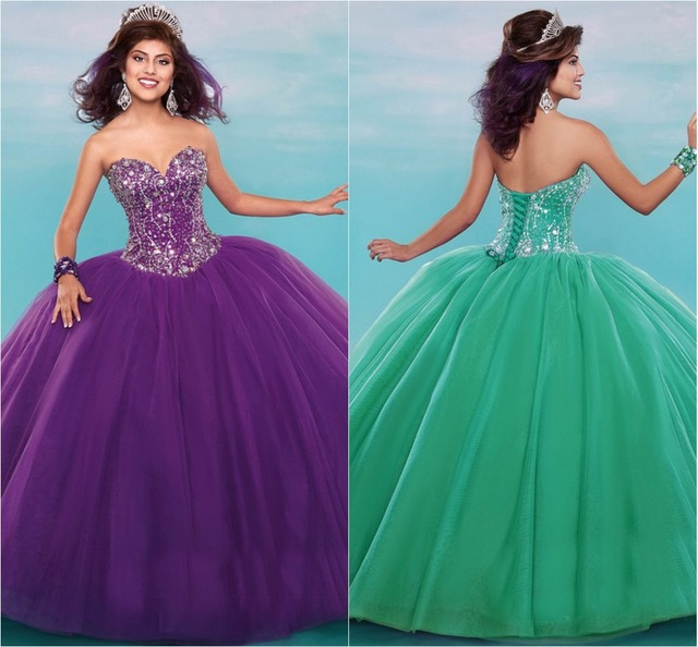 e9ab965f48b Fashion Purple Green Quinceanera Dresses For 15 Years Sparking  Crystal Beading Corset Lace-up Close Special Occasion Party Gowns