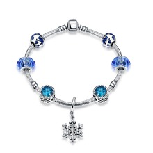 Hot Sale 100% 925 Sterling Silver Snowflake Bangles & Bracelet With Charm Bule Beads Luxury Jewelry Original Christmas Gift H005
