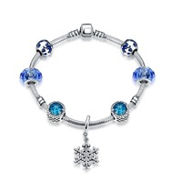 Hot Sale 100 925 Sterling Silver Snowflake Bangles Bracelet With Charm Bule Beads Luxury Jewelry Original