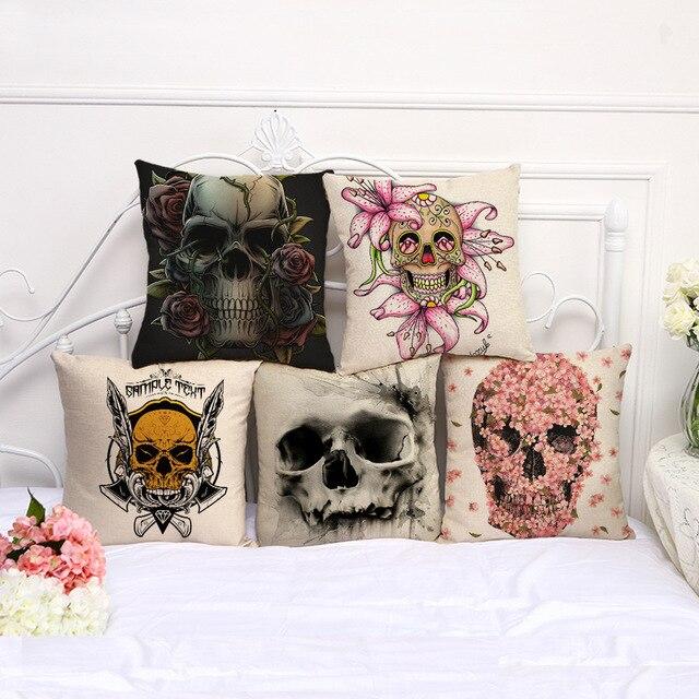 Taie doreiller décorative | Taie doreiller, motif Floral pour tête de crâne dhalloween, 17.5 pouces, housse de siège en lin et coton pour chaise C1075