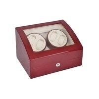 Saat zembereği  LT Ahşap Otomatik Rotasyon 4 + 6 saat zembereği saklama kutusu Ekran Kutusu (Dışında kırmızı ve iç beyaz)