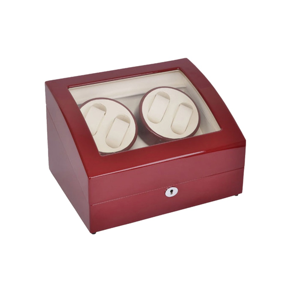 Watch Winder ,LT Wooden Automatic Rotation 4+6 Watch Winder Storage Case Display Box (Outside is red and inside is white) 2016 latest luxury 5 modes german motor watch winder yellow spray paint wooden white pu leater inside automatic watch winder
