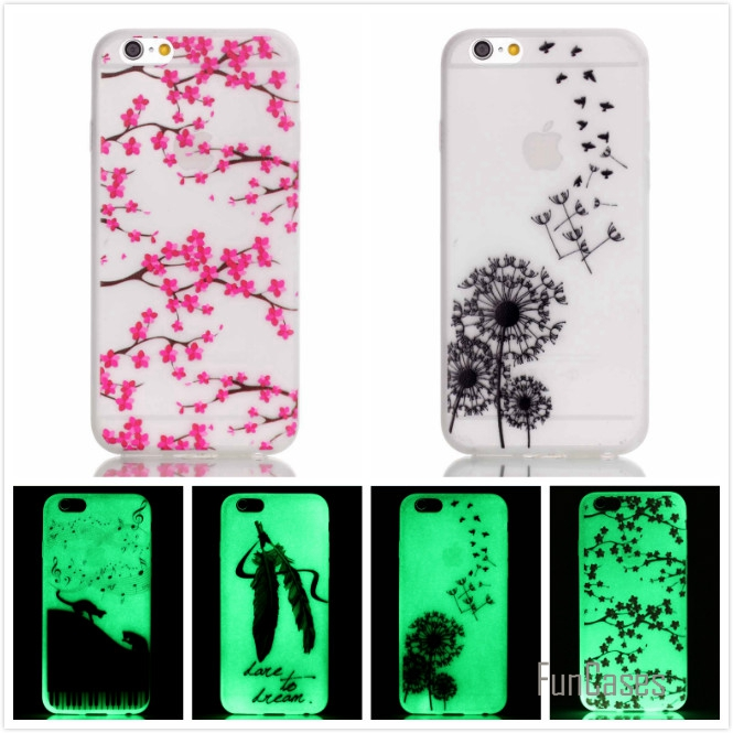 Hot! Fashion Fluorescence TPU Slim Printed Phone Cases For Apple iPhone 5 5S 5G Luminous Soft Silicon Phone Cover Case