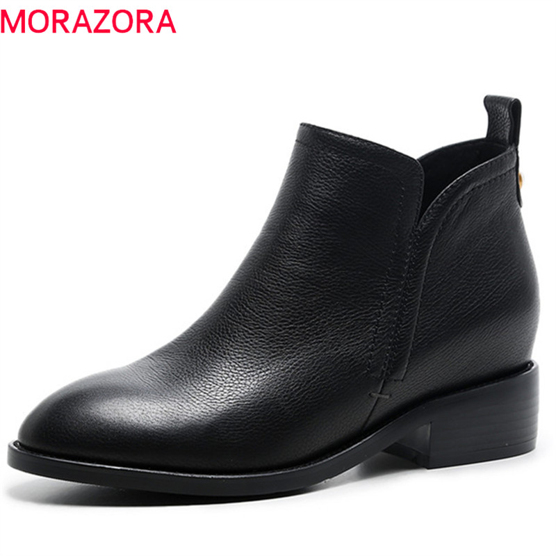 MORAZORA 2019 top quality genuine leather ankle boots women solid colors autumn winter boots fashion  boots ladies shoesMORAZORA 2019 top quality genuine leather ankle boots women solid colors autumn winter boots fashion  boots ladies shoes