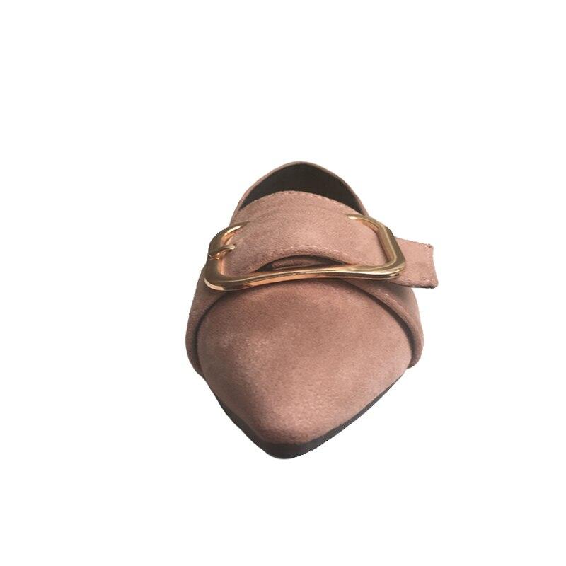 01 Simples Conception Chaussures De Printemps Molles 01 Métal Zh2507 pink Femmes Pink 02 02 02 Bout Marque En Nouvelle Pointu black green Appartements 01 2018 black green Dames OqCExT