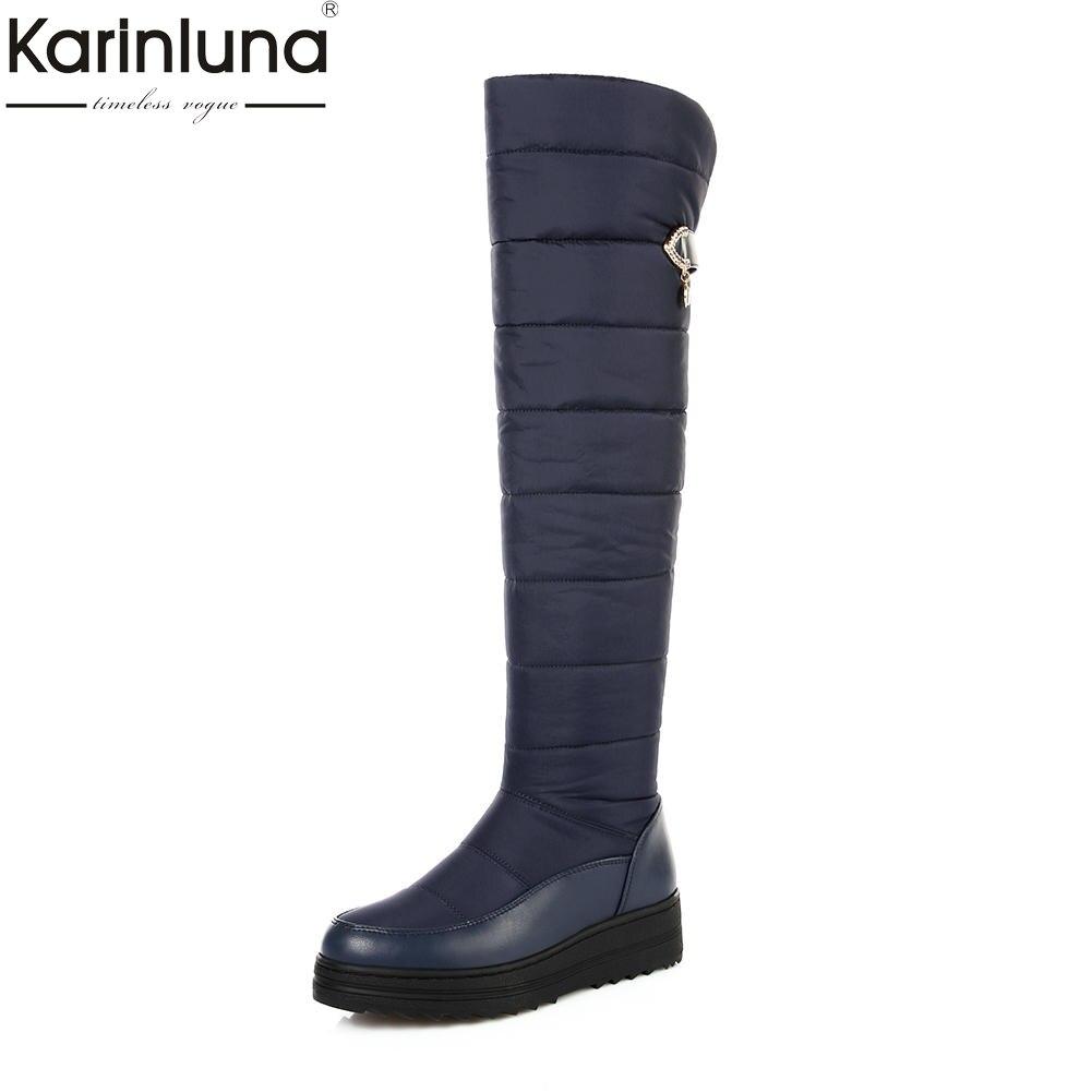 18c4585e2015b Alta Plataforma Botas Mujeres Piel Mayor Negro Invierno Dropship Caliente  Karinluna Nieve Venta Impermeable azul Zapatos De Por Rodilla wU4pzqnRI