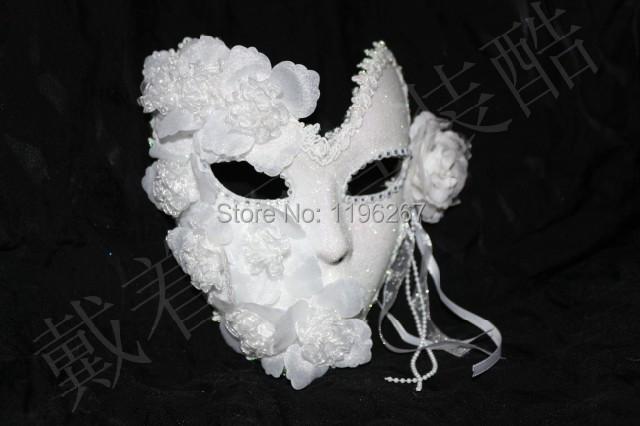 Handmade white masquerade masks lace floral decor glitter venice mask latex female mask party wedding mask
