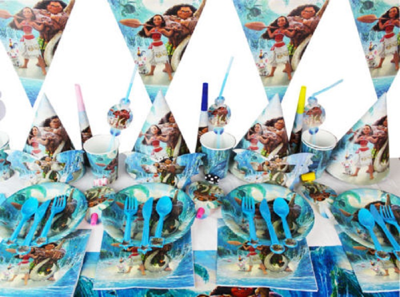 16 Styles Moana Tableware Theme Set Kids Birthday Party Decoraiton Ocean Sea Party Suppliers Set Table Cloths Bag Cups Masks