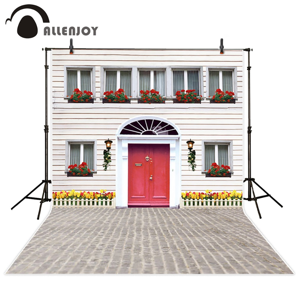 10*20feet(300*600CM) Photography Background Red Gate House safflower vestidos inverno Free Shipping