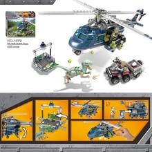 433Pcs Jurassic World Blues Helicopter Pursuit Bike Velociraptor Model Building Blocks lEGOings Dinosaur Toy Bricks BKX82