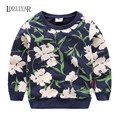 Boys Girls Clothes, Kids Korean Leisure Flower Outerwear Long Sleeve Warm Boys Clothes, Floral Pullover T-shirt Spring Autumn