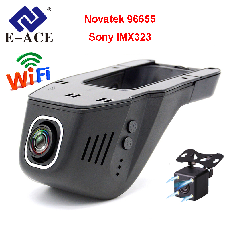 E-ACE Car DVR Camera Wifi Dash Cam FHD 1080P Novatek 96655 Sony IMX323 Auto Video Recorder Registrator Dual Lens Dashcam Dvrs plusobd for benz e w212 2008 12 surveillance camera oem novatek 96655 car camera video recorder fhd hd dashcam best camera