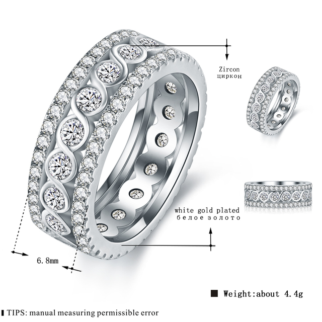 MDEAN White Gold Color Round Rings for Women Engagement Wedding Clear AAA Zircon Jewelry Bague Bijoux Size 6 7 8 9 10 H517 1