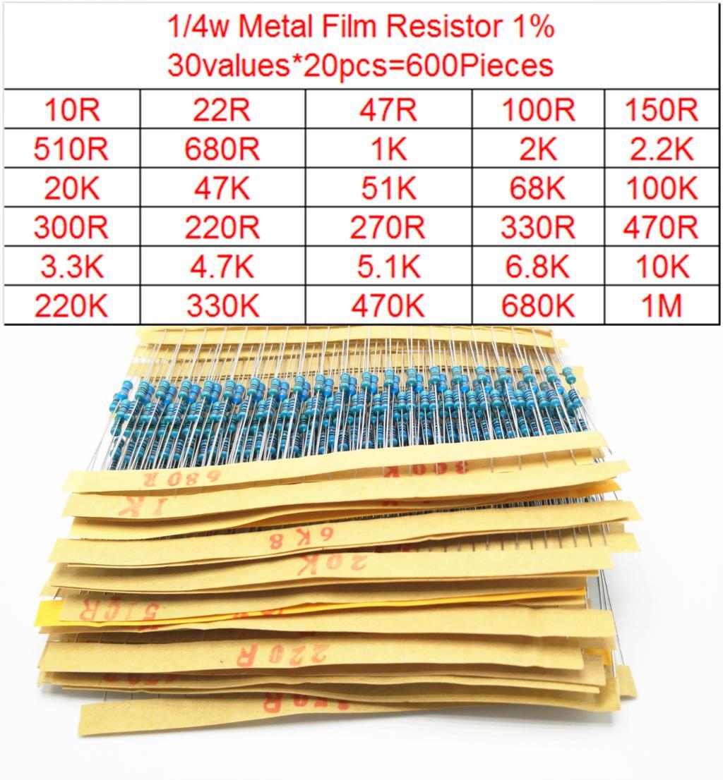 600-2600pcs 1/4W Metal Film Resistor Kit 30-130values Resistor Assorted Kit Set Pack 1R-10M Electronic Diy Kit Resistor 1%