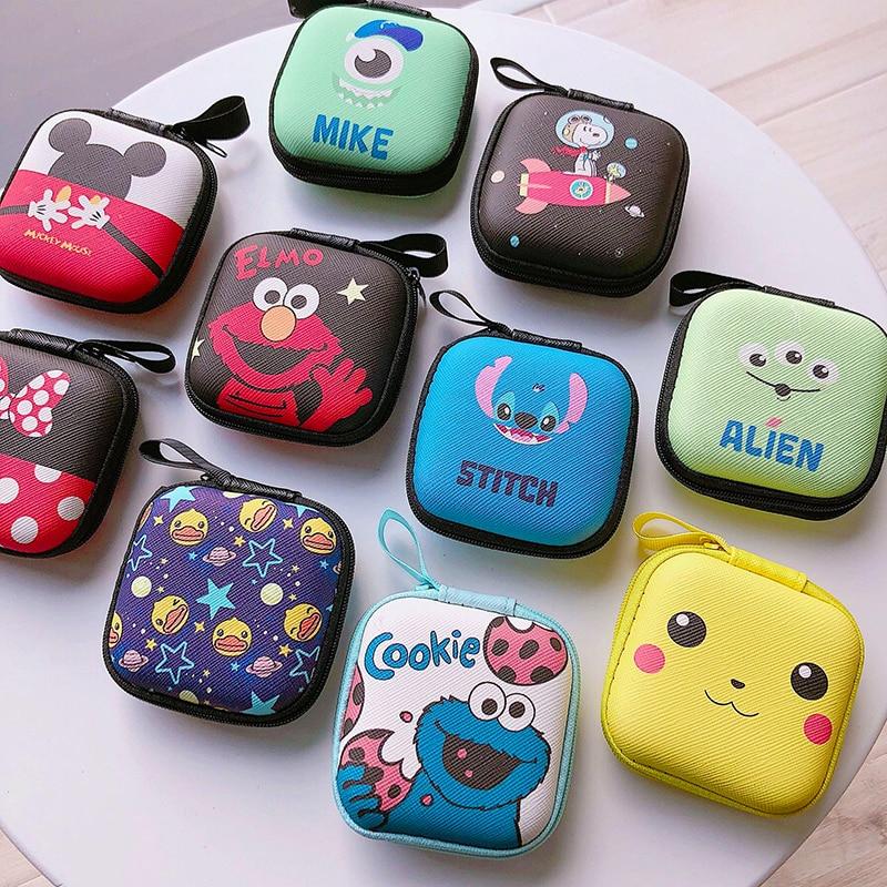 Cartoon Mini Zipper Hard Headphone Case Earphone Case Box Storage Bag Protective USB Cable Organizer Portable Earbud Accessories