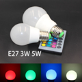 E27 RGB LED trobe Lamp 3W 5W Dimmable RGBW Bulb Light AC 110V 220V Home Decoration 16 Colors Change +24key IR Remote Controller