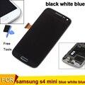 Para samsung galaxy s4 mini i9195 i9190 i9192 lcd asamblea de pantalla táctil con marco negro blanco azul
