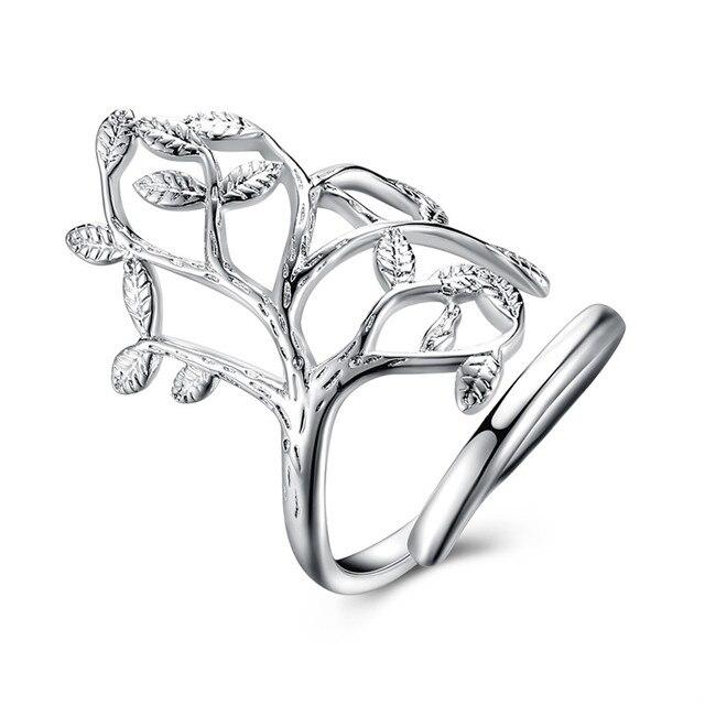 b57369049062 Plata 925 anillos para las mujeres moda hoja Anillo moda joyería accesorios  Spinner boda accesorios Bijoux
