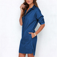 Causal Women Denim Shirt Dress Summer Irregular Shirt Dress Long Sleeve Sexy Mini Dress Casual Loose