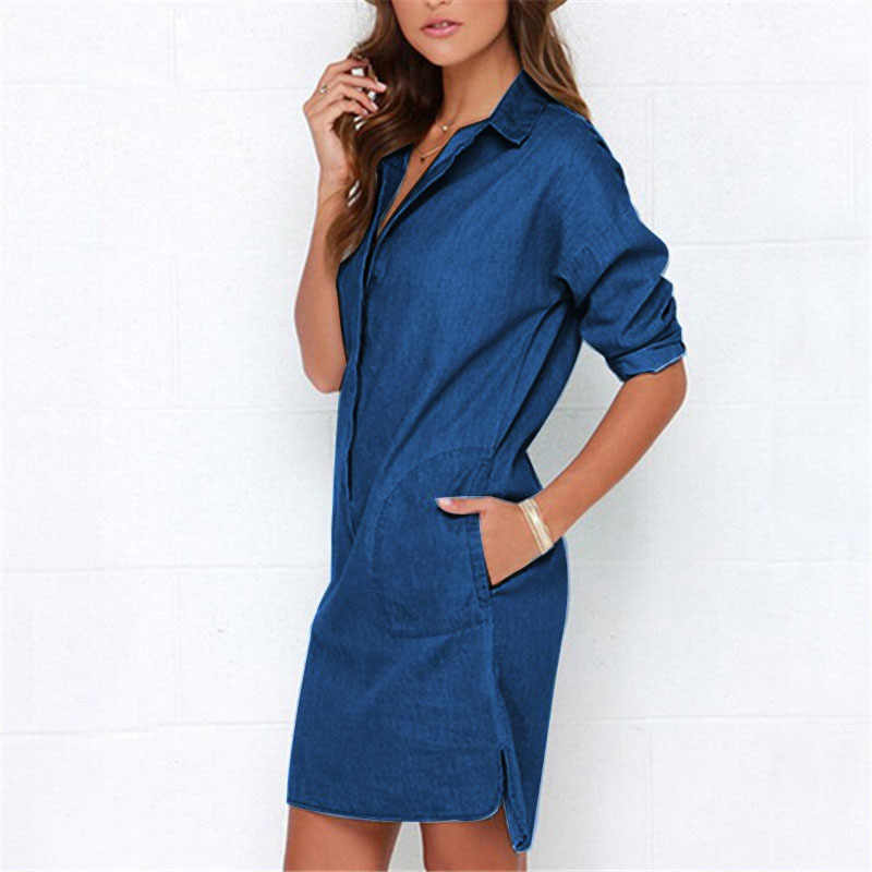 Casual Women Denim Shirt Dress Summer Irregular shirt dress Long Sleeve Sexy  Mini Dress Casual Loose e9fdf9e78a19