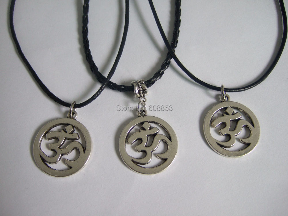Wax Cord/PU Cord/Leather Cord OM OHM AUM YOGA HINDI OMKARA SYMBOL Charm Necklace 18