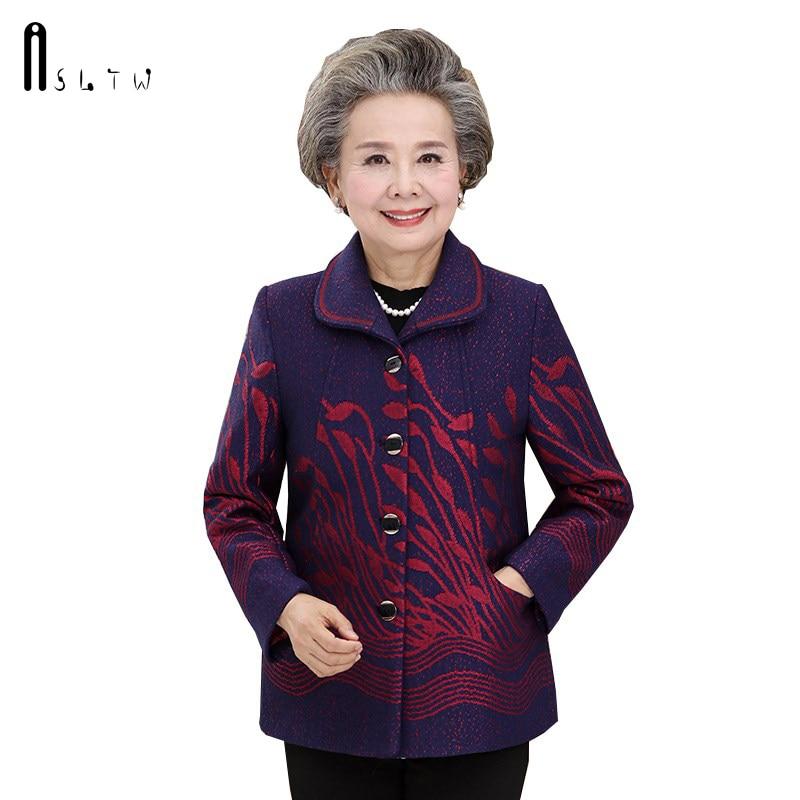 Woolen Blue Turn Collar Single Autumn New Coat Breasted Asltw Down red Wool Mother Women's purple Vestidos Casual Jacket Fw5WZqxR