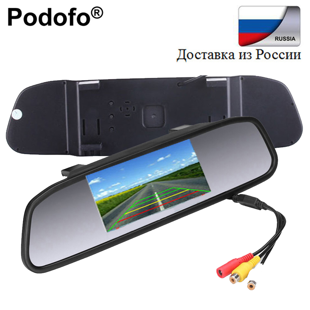Podofo 4.3 Inch Car Parking Rearview Mirror Monitor Parking Display 2 Video Input TFT LC ...