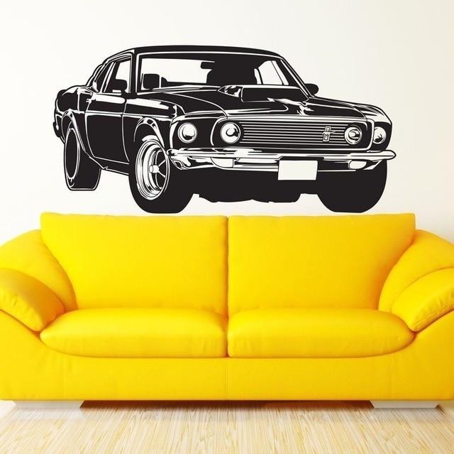 Shelby GT-autocollant Mural de voiture | Étiquette murale en vinyle, pour décor artistique, Ford Mustang Muscle Racing, papier peint autocollant Mural en vinyle