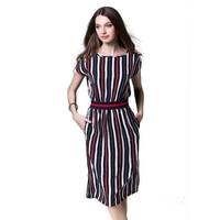 Fashion Casual Women Round Neck Stitching Printing Stripe Bat Sleeves Figure Flattering Waistband Dress